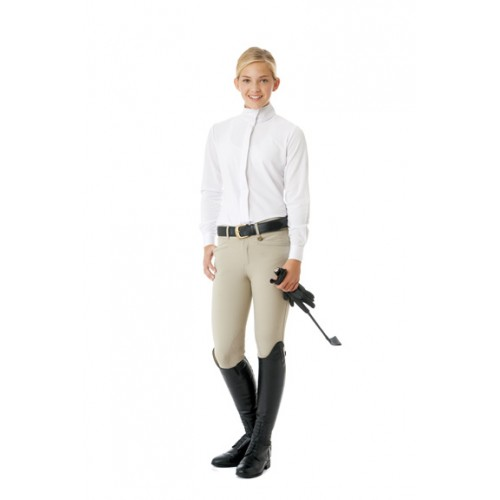 Ovation® Teen Celebrity EuroWeave™ DX Euro Seat Front Zip Knee Patch Breeches